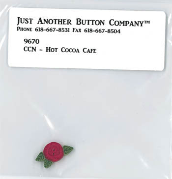 Country Cottage ~ Hot Cocoa Cafe JABC Rose Button
