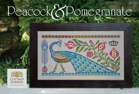 Cottage Garden Samplings ~ Peacock & Pomegranate
