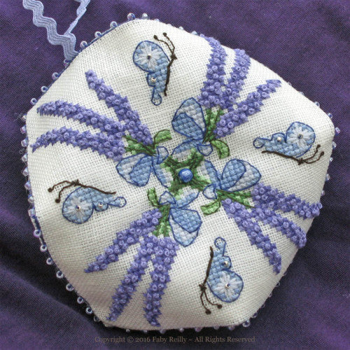 Faby Riley Designs ~ Lavender Bouquet Biscornu