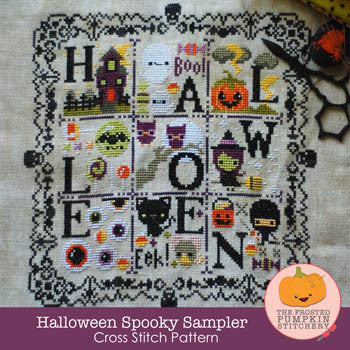Frosted Pumpkin Stitchery ~ Halloween Spooky Sampler