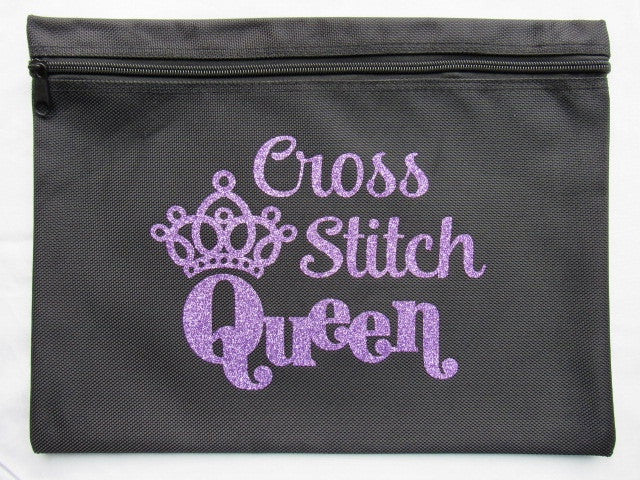 Cross Stitch Queen ~ Glitter Project Bag (Various Colors!)