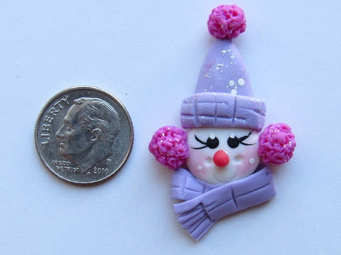 Needle Minder ~ Purple Snowman (Clay)
