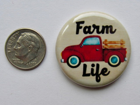 "1.25"" Button Magnet ~ Red Truck/Farm Life"