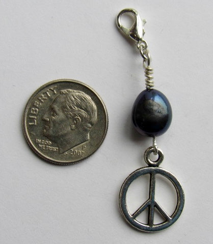 One of a Kind ~ Zipper Pull w/Baroque Pearl ~ Peace