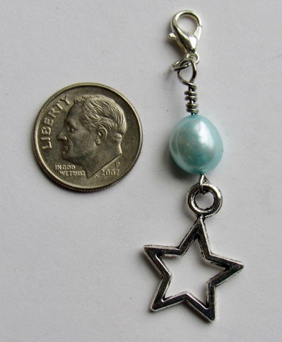 One of a Kind ~ Zipper Pull w/Baroque Pearl ~ Star