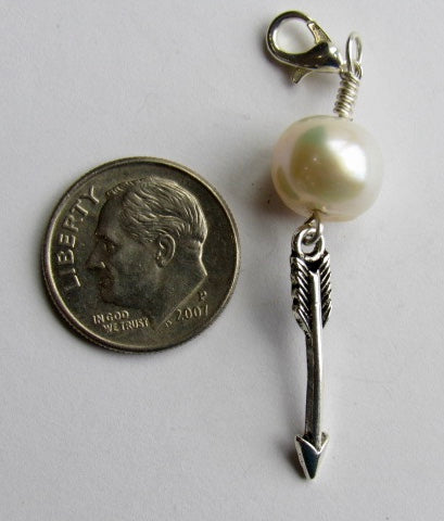 One of a Kind ~ Zipper Pull w/Baroque Pearl ~ Arrow