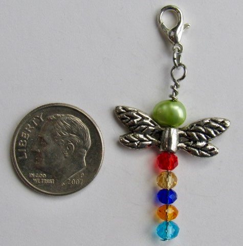 One of a Kind ~ Zipper Pull w/Baroque Pearl ~ Dragonfly #6