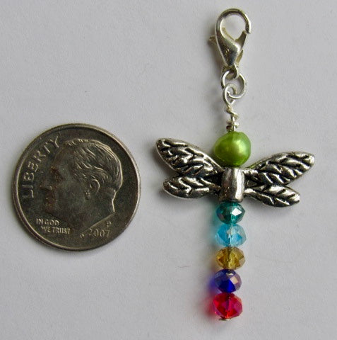 One of a Kind ~ Zipper Pull w/Baroque Pearl ~ Dragonfly #5