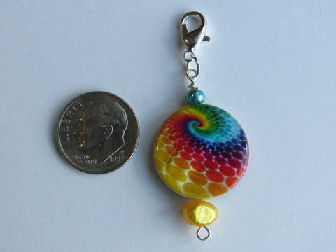 One of a Kind - Zipper Pull w/Baroque Pearl ~ Tie Dyed w/Yellow Pearl - PRETTY!!!