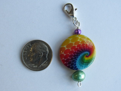 One of a Kind - Zipper Pull w/Baroque Pearl ~ Tie Dyed w/Green Pearl - PRETTY!!!