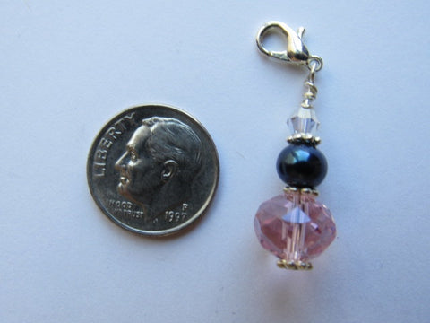 One of a Kind Zipper Pull w/Baroque Pearls ~ Dark & Pink
