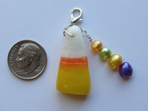One of a Kind - Zipper Pull w/Baroque Pearls ~ Candy Corn #1 - SO CUTE!