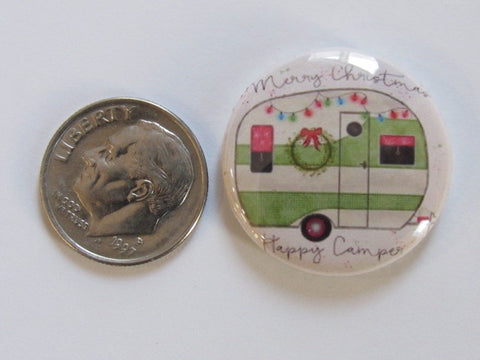 "1"" Button Magnet ~ Christmas - Happy Christmas Camper (green)"