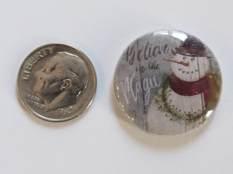 "1"" Button Magnet ~ Christmas - Snowman Magic"