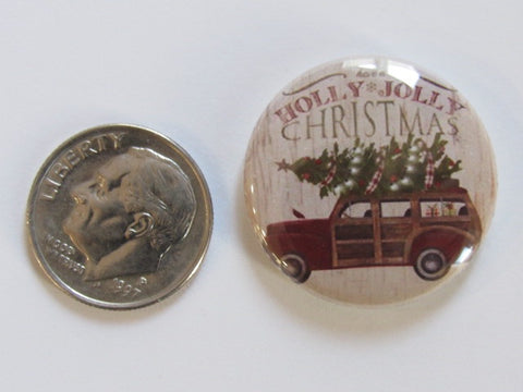 "1"" Button Magnet ~ Christmas - Woody Wagon w/Tree"