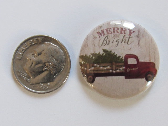 "1"" Button Magnet ~ Christmas - Merry & Bright Truck w/Tree"