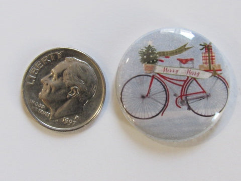 "1"" Button Magnet ~ Christmas - Bicycle on Blue"