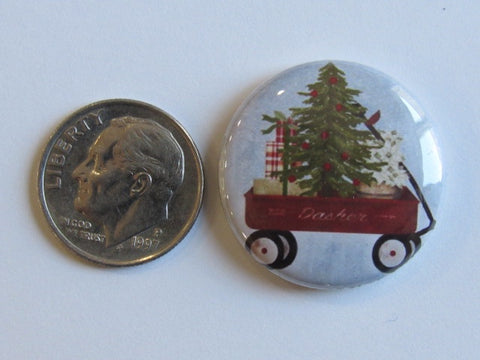 "1"" Button Magnet ~ Christmas - Wagon"