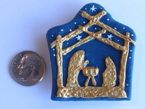 Needle Minder ~ The Nativity (Blue/Gold) CLAY