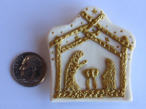 Needle Minder ~ The Nativity (Ivory/Gold) CLAY