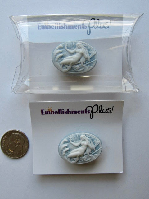 Needle Minder ~ Oval Blue Mermaid Cameo (packaged)