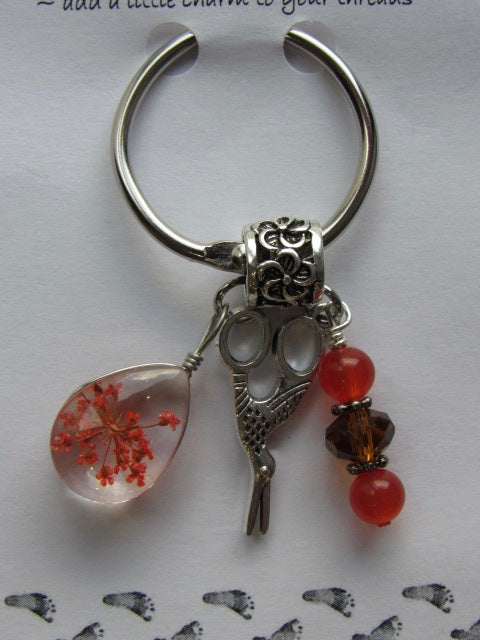 Dried Floral & Mini Charms Thread Keep - Coral - **Very limited # available!