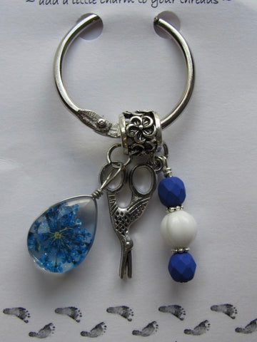 Dried Floral & Mini Charms Thread Keep - Blue - **Very limited # available!