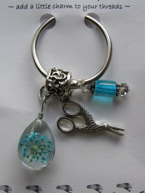 Dried Floral & Mini Charms Thread Keep - Aqua - **Very limited # available!