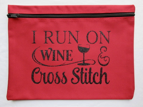 Run On Wine... ~ Black Glitter Project Bag (Various Colors)