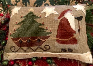 Homespun Elegance ~ Santa's On His Way w/Pearl Bird Button
