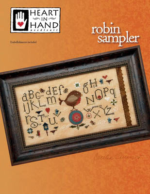 Heart In Hand ~ Robin Sampler (w/embellishments)