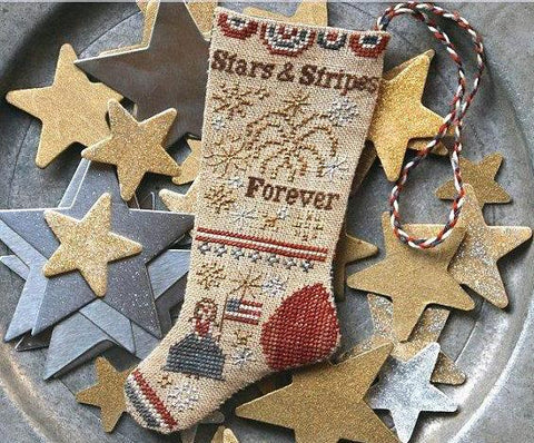 Heartstring Samplery ~ Stars & Stripes Forever Stocking Ornament #3