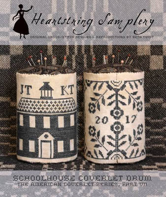 Heartstring Samplery ~ Schoolhouse Coverlet Drum