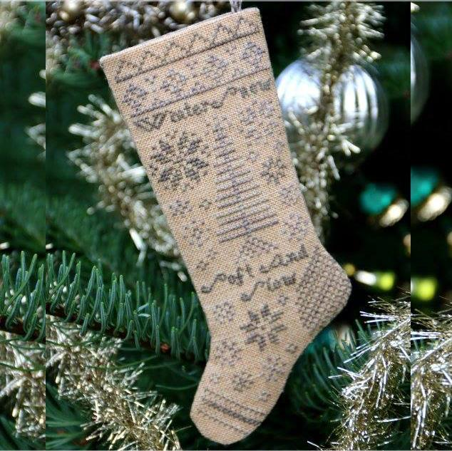 Heartstring Samplery ~ Winter Snow Stocking Ornament