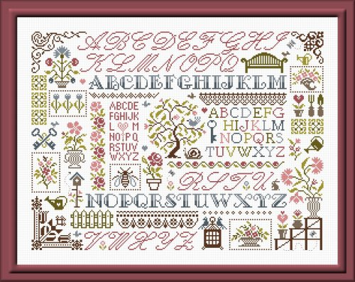 Jardin Prive' ~ Sampler aux Fleurs ~ Multi-color Version
