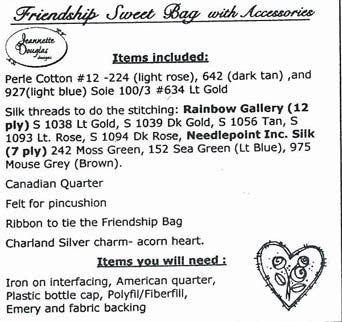 Jeanette Douglas Designs ~ Friendship Sweet Bag with Accessories Embellishment Pack