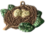 Just Nan ~ Christmas Nest Ornament w/Hand Painted Christmas Nest Charm