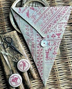 Stacy Nash Primitives ~ Luise Konig Redwork Sewing Pocket & Fob