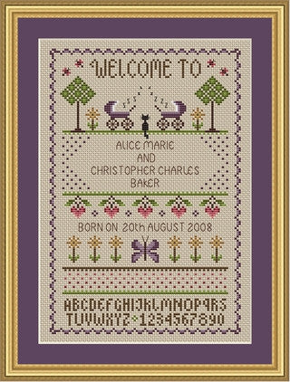 Little Dove Designs ~ Twins Birth Sampler