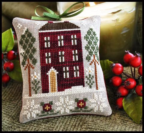 Little House Needleworks ~ Red House In Winter