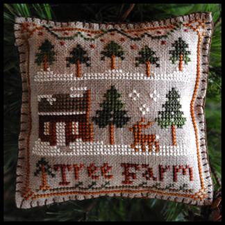 Little House Needleworks ~ Tree Farm w/28ct WDW Tin Roof Gingham Linen