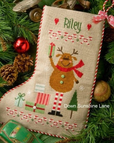 Lizzie Kate Charts ~ Reindeer Stocking w/embs