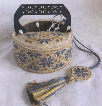 Mani di Donna ~ Blue Quaker Sewing Basket w/handle