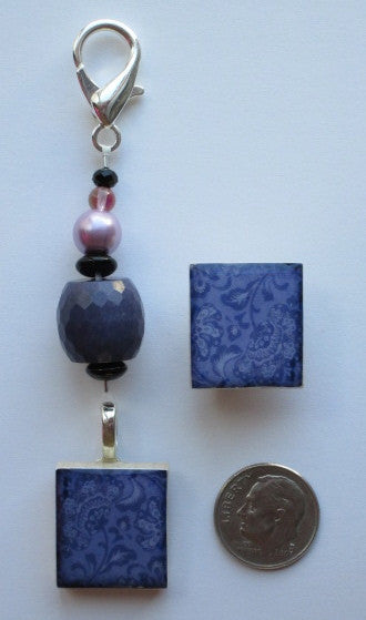 Jacobean Blue Mini Fob & Magnet Set