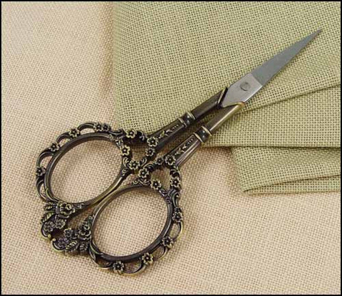 "4 1/2"" Bronze Victorian Floral Scissors ~ So pretty!"