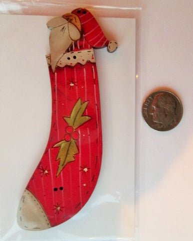 Hand Painted Buttons - Santa Stocking w/Holly Big Button