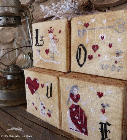 The Primitive Hare ~ Love Cubes:  St. Valentine's Ornaments