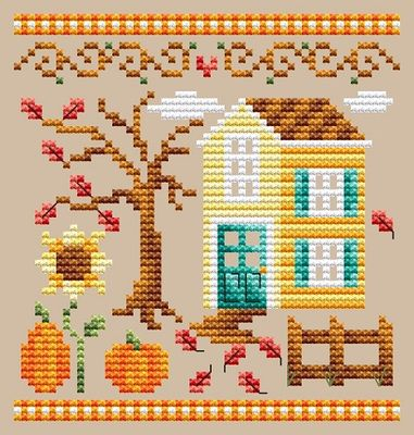 Shannon Christine Designs ~ Pumpkin House (see set of 3 stitched together!!)