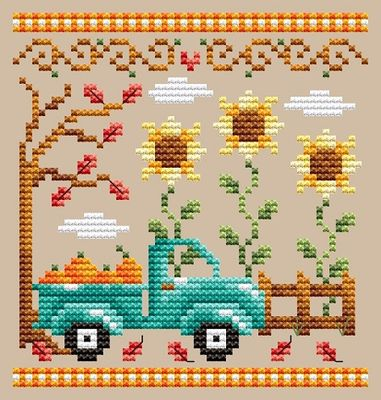 Shannon Christine Designs ~ Pumpkin Truck (see set of 3 stitched together!!)