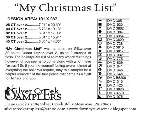 silver creek samplers my christmas list click to see full design - My Christmas List